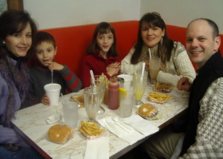 Having burgers and shakes at Doumar's Drive-In in Norfolk, VA,