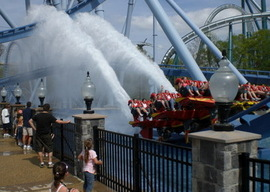 The observation deck below Griffon is a great place to cool off at Busch Gardens Williamsburg.