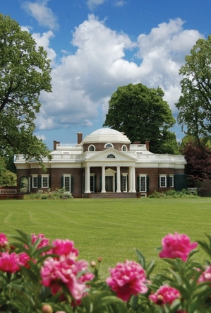 A view across the front lawn. Thomas Jefferson Foundation/ Monticello.