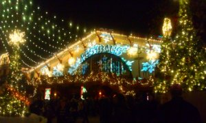 Christmas Town at Busch Gardens brings Das Festhaus ablaze in lights.