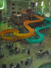 Just two of the water chutes at Great Wolf Lodge Williamsburg.