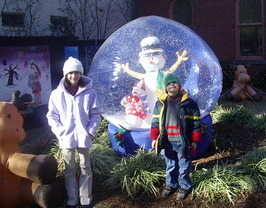 Visiting holiday decorations in Old Towne Portsmouth.